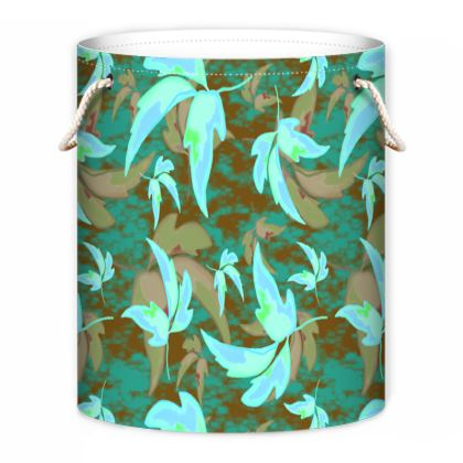 Turquoise, Teal Laundry Bag  Leaves in Flight  Woodland