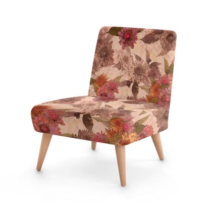 Beech wood x Velour - Occasional Chair - Vintage Floral (Dahlia)