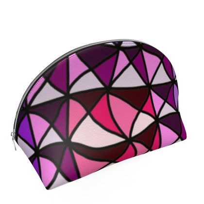 Shell Coin Purse in Pink and Purple Geometric