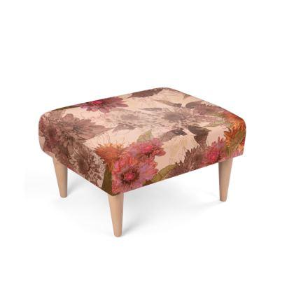 Beechwood x Velour - Footstool - Vintage Floral (Dhalia)