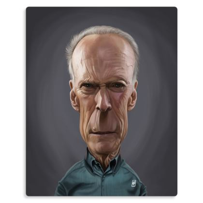 Clint Eastwood Celebrity Caricature Metal Print