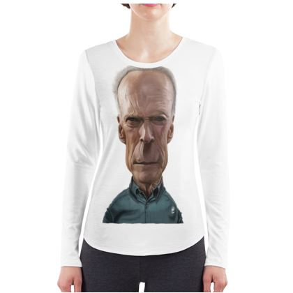 Clint Eastwood Celebrity Caricature ladies Long Sleeve Shirt
