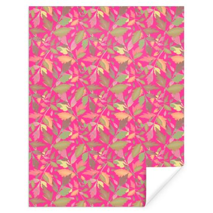 Pink Gift Wrap  Cathedral Leaves  Peony
