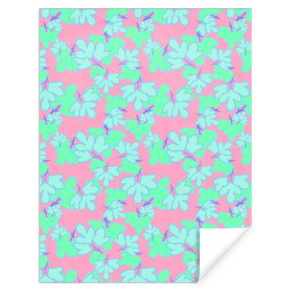 Turquoise, Pink  Gift Wrap  Oriental Leaves  Turquoise on Pink