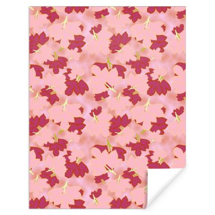 Red, pink, Gift Wrap  Oriental Leaves  Strawberry Sorbet
