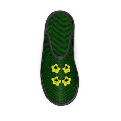 decorative yellow flowers on fresh green Slippers