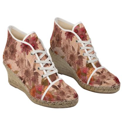 Heeled Espadrille - Canvas x Jute Natural Sneaker look Shoes - Vintage Floral (Dahlia)