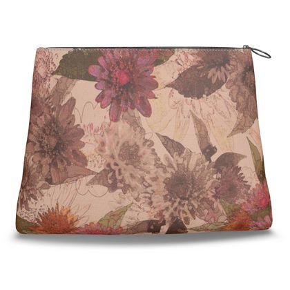 Canvas Shell Clutch - Vintage Floral (Dahlia)