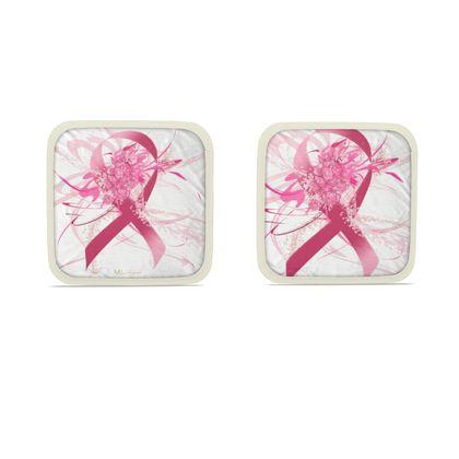 Hot Dish Pads - Grytlappar - Pink flower Ribbon White