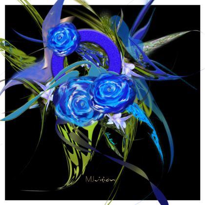 Hot Dish Pads - Grytlappar - Blue flower black