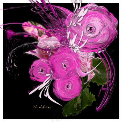 Hot Dish Pads - Grytlappar - Pink summer fantasy black