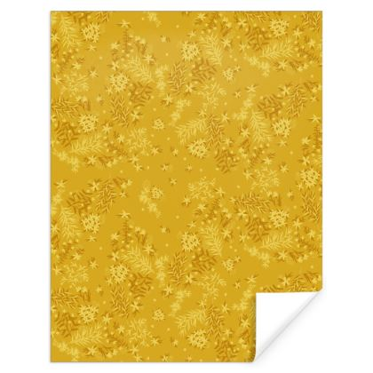 Mustard Gold Floral Gift Wrap