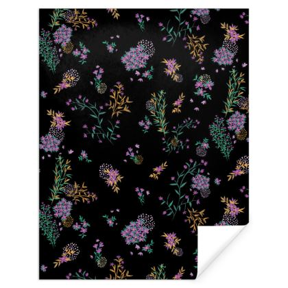 Black and Prurple Floral Gift Wrap