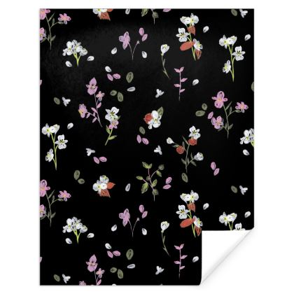 Black, White and Pink Floral Autumn Gift Wrap