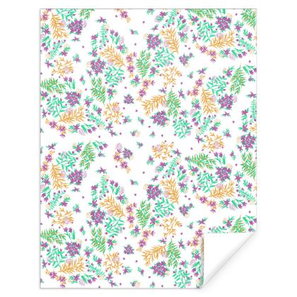 White, Purple and Yellow Hand Painted Floral Gift Wrap