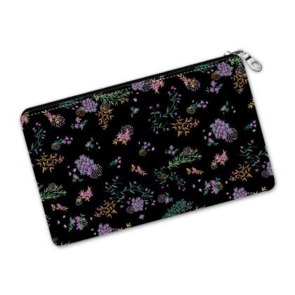 Black and Purple Floral Pencil Case Pouch
