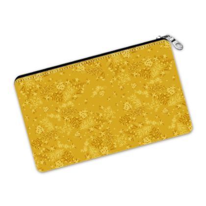 Mustard Yellow Floral Pencil Case Pouch
