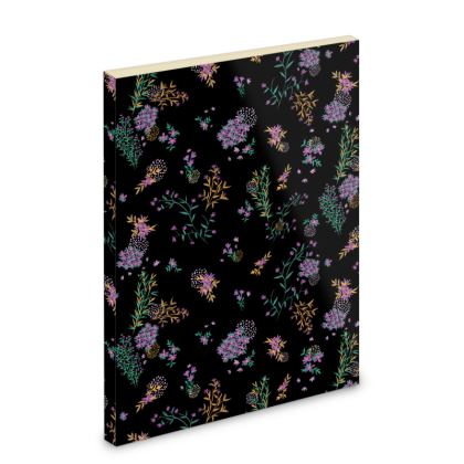 Black and Purple Ditsy Floral Pocket Note Book