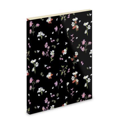Black Ditsy Floral Pocket Note Book