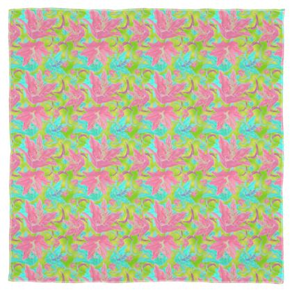 Pink, Turquoise Scarf [chiffon shown], Wrap, Or Shawl  Lily Garden  Dragonfly