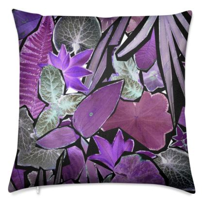 Dark Purple Forna Print Luxury Cushion