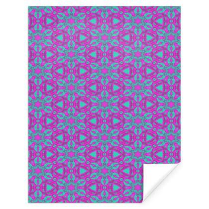 Mauve Gift Wrap  Geometric Florals  Pansy