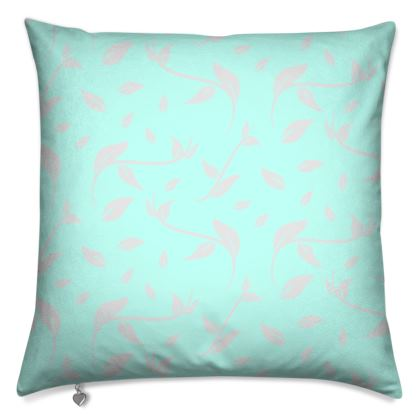 Cushion- Emmeline Anne Silver/Turquoise Leaves