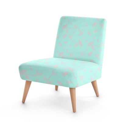 Occasional Chair- Emmeline Anne Silver/Turquoise Leaves