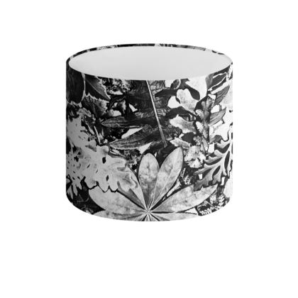 Black Forna Print Drum Lamp Shade