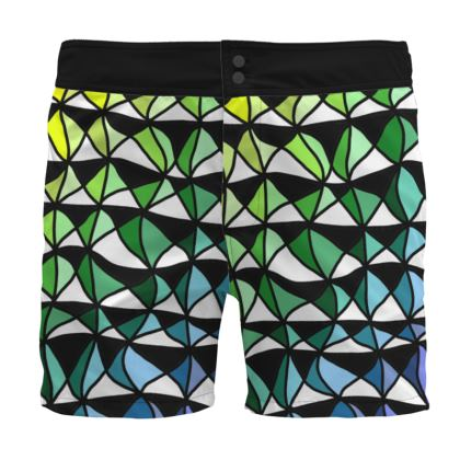 Board Shorts in Geometric yellow green and blue