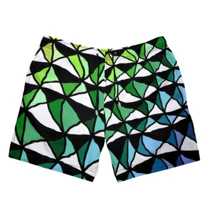 Mens Swimming Shorts in Geometric yellow green and blue