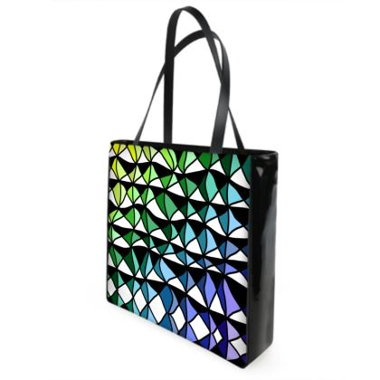 Shopper Bags in Geometric yellow green and blue
