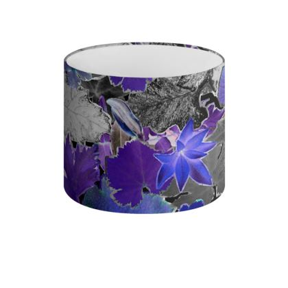 Blue Forna Print Drum Lamp Shade