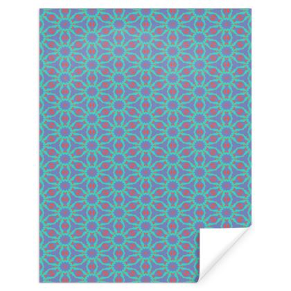 Teal, Red Gift Wrap  Geometric Wrap  Temple