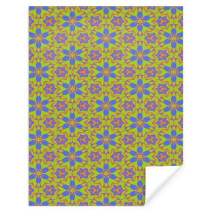 Blue, Yellow Gift Wrap  Geometric Florals  Lazy Daisy