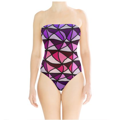 Swimsuit in pink and purple geometric