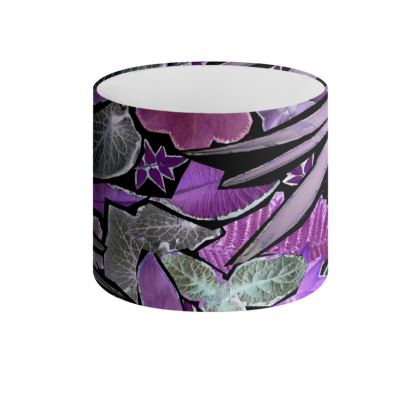 Dark Purple Forna Print Drum Lamp Shade