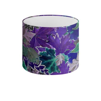 Purple Forna Print Drum Lamp Shade