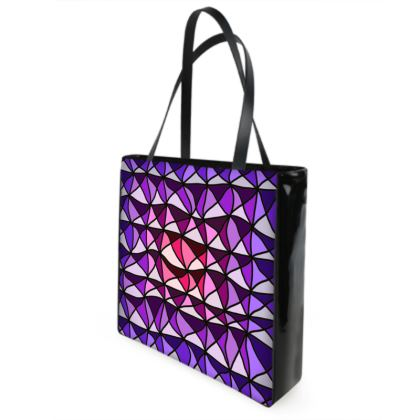 Shopper Bags in pink and purple geometric