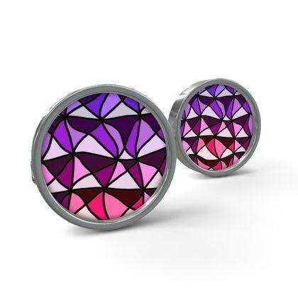 Cufflinks in pink and purple geometric