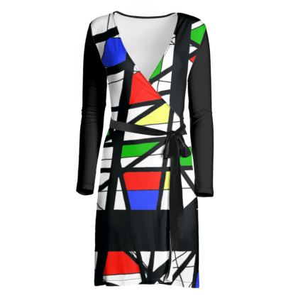 Wrap Dress in Geometric Basic Colors