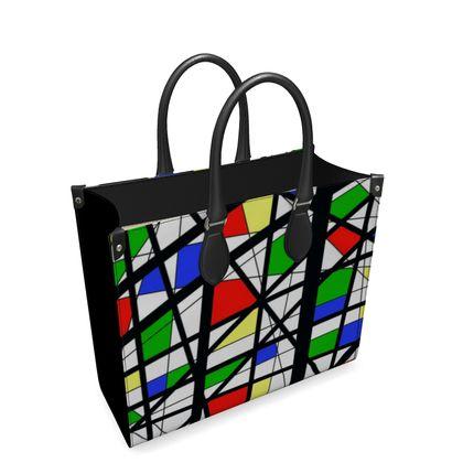 Leather Shopper Bag in Geometric Basic Colors