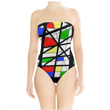 Swimsuit in Geometric Basic Colors