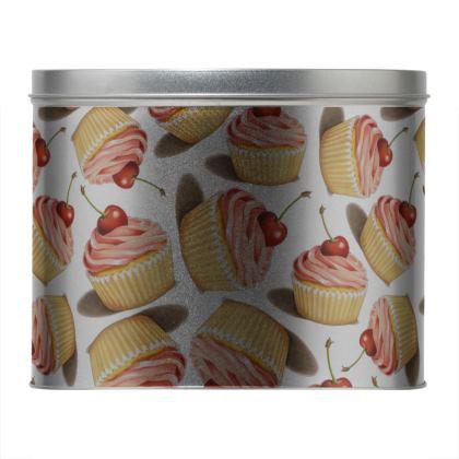 Pink Cupcake Round Metal Tin
