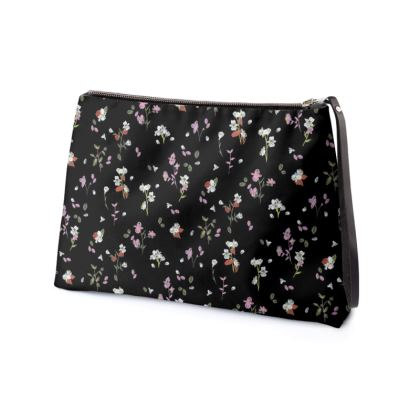 Black Ditsy Floral Clutch Bag