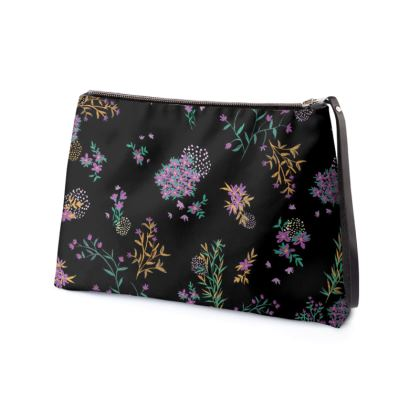 Black and Purple Floral Clutch Bag