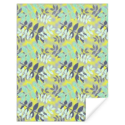 Green, Yellow Gift Wrap  Etched Leaves  Sunlight