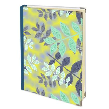 Yellow, Teal Journals  Etched Leaves   Sunlight