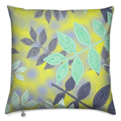 Yellow, Grey Cushions    Etched Leaves   Sunlight