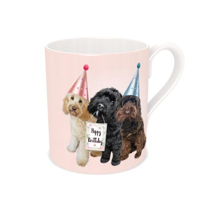 COCKAPOO happy birthday bone China mug